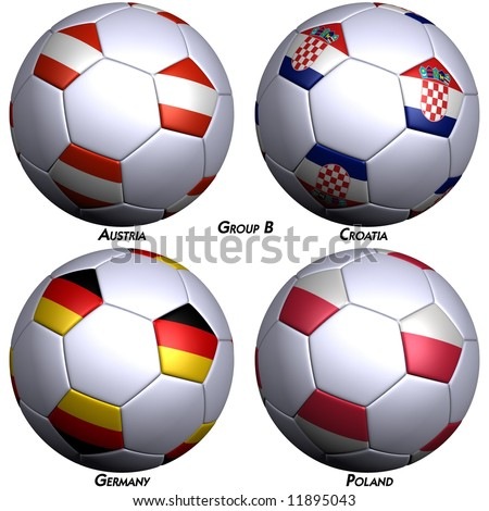 Four soccer-balls with flags of the countries in Group B in the European championship 2008. Hi-res 3D render with clipping path. - stock photo
