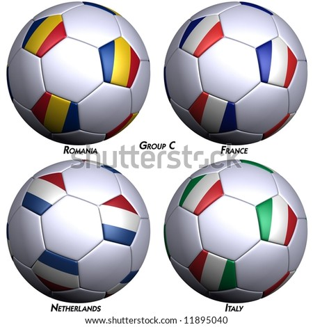 Four soccer-balls with flags of the countries in Group C in the European championship 2008. Hi-res 3D render with clipping path. - stock photo
