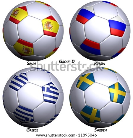 Four soccer-balls with flags of the countries in Group D in the European championship 2008. Hi-res 3D render with clipping path. - stock photo