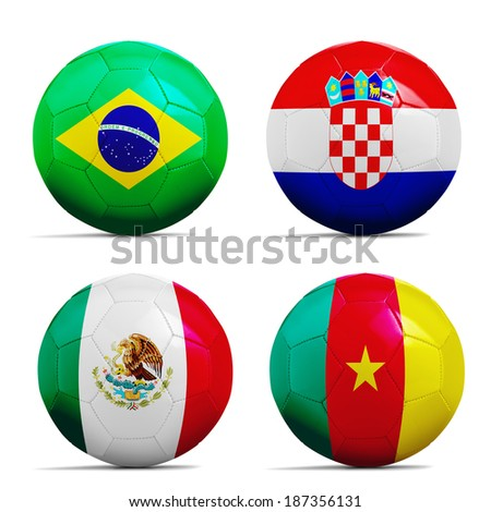 Four soccer balls with group A teams flags, Football Brazil 2014.  - stock photo