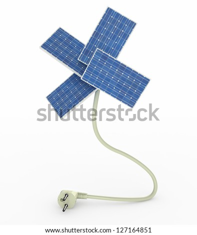 four solar panels like a flower over energy cable on white background, 3d illustration - stock photo