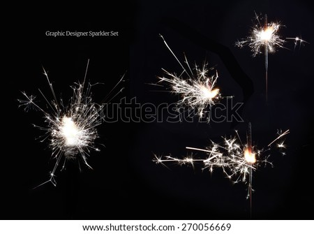 Four sparkler images for a graphic designers toolbox. Genuine images, not vectors, of ignited sparklers against black. Shot in high resolution at high speed for rendering within your designs. - stock photo