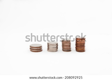 Four stack of coins - stock photo