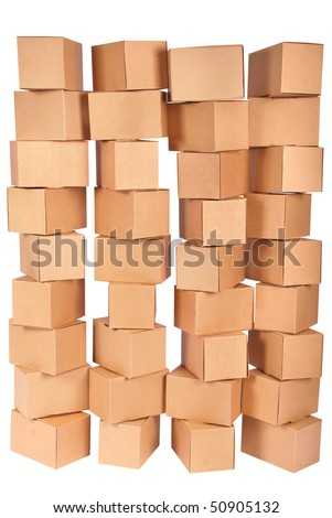 Four stacked  cardboard boxes on white background