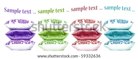 Four stacks or colorful cushions on a white background with space for text - stock photo