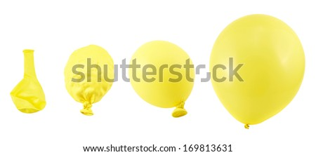 Four stages of yellow balloon inflation process isolated over white background