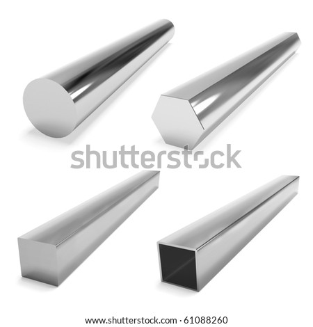 four stainless steel blocks on the white - stock photo