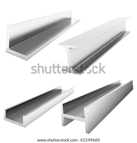 four stainless steel construction bricks on the white - stock photo