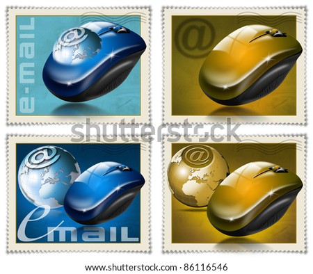 Four stamps with the mouse, globe and symbol e-mail - stock photo
