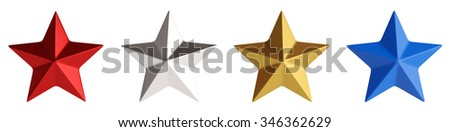 Four stars,red, silver, golden and blue isolated over white 3d rendering - stock photo