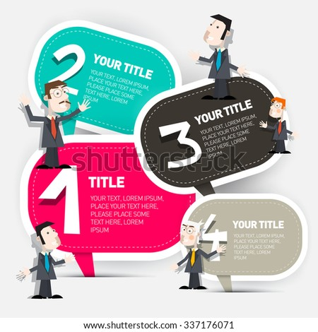 Four Steps Infographic Layout with Paper Labels and Businessmen Set - stock photo