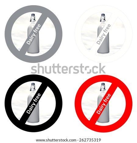 Four stickers for dairy free products in white background - stock photo