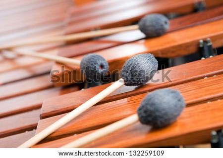 Four Sticks On  Marimba Waiting For The Concert - stock photo