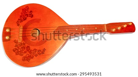 Four strings mandolin, isolated on white