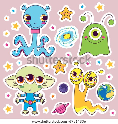 Four sweet cute child alien monsters with planets and happy stars - stock photo