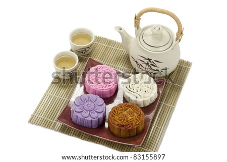 Four taste Mooncake - stock photo
