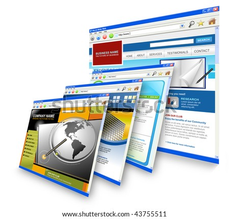 Four technology internet business websites are standing upright. the is one big one and three small ones leaning on it. Has white isolated background.