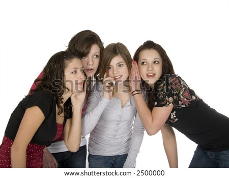 four teen girls with cell phone - stock photo