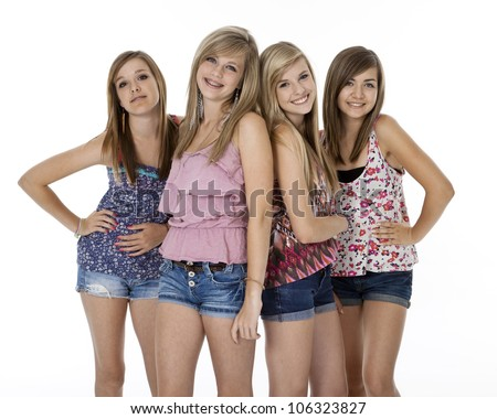 Four Teenage Girls Summer Clothes Standing Stock Photo 106323827 ...