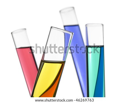 Four test tubes filled with colored liquids. Isolated on white. - stock photo