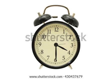 Four Thirty (half past four) Black Alarm Clock isolated on white background