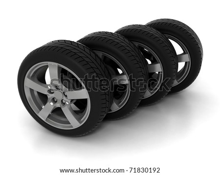 Four Tires Formation Isolated on White Background - stock photo