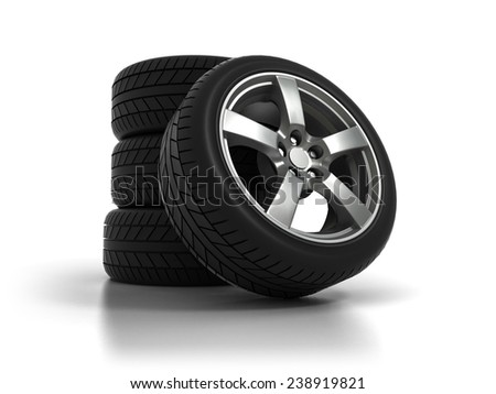 Four Tires with Aluminum Wheels on White Background. 3D Illustration - stock photo