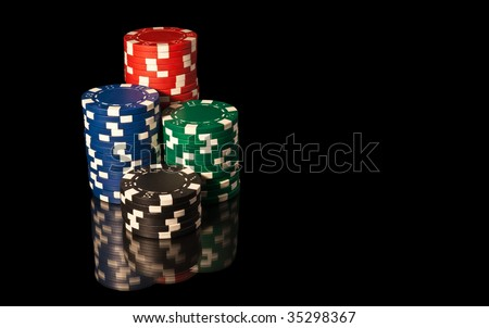 Four towers casino chips - stock photo