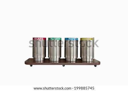 Four trash cans,separate each type of trash(with clipping path) - stock photo