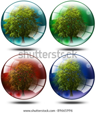 Four trees with leaves inserted balls of various colors, ecology concept - stock photo