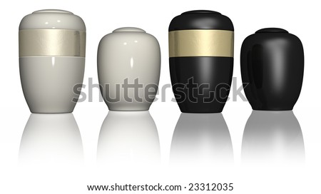 Four urns on a white isolated background - stock photo
