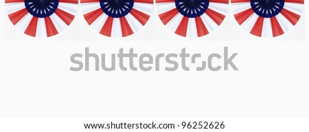Four US Flag Buntings isolated on white background with room for your text - stock photo