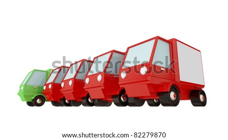 Four usual trucks and the green one . 3d rendered. Isolated on white. - stock photo