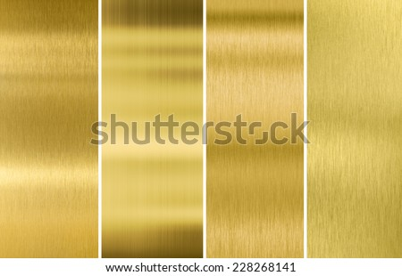 Four various brushed gold metal textures set - stock photo