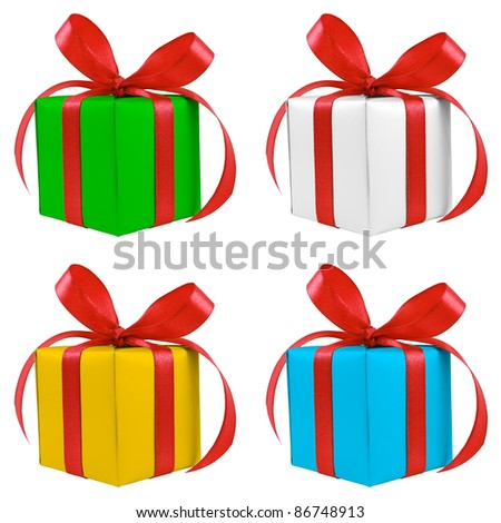 Four various color silver gift wrapped presents with red satin bow isolated on white
