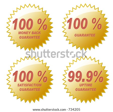 Four various 100% Guarantee golden seals. Created in PS. - stock photo