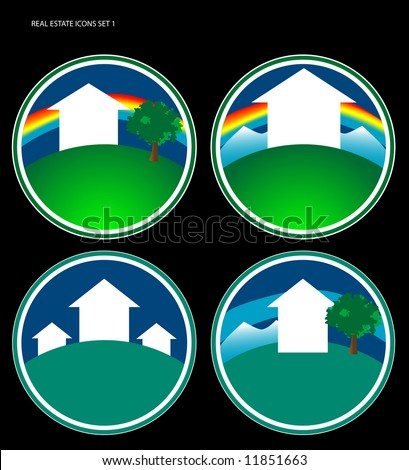 Four various real estate icons. Can also be used for logo development. Space for text at bottom. - stock photo