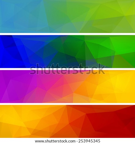 Four vector polygonal backgrounds for banner