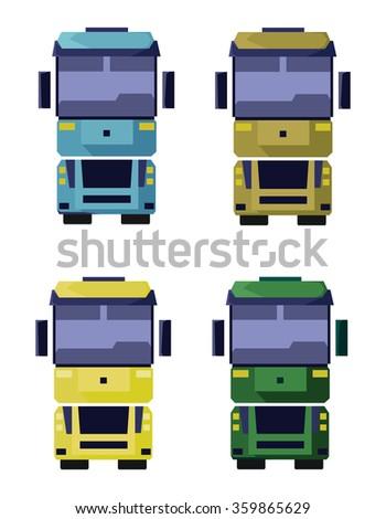 Four Vehicles Front View. Trucks icons set. Digital raster flat illustration. - stock photo