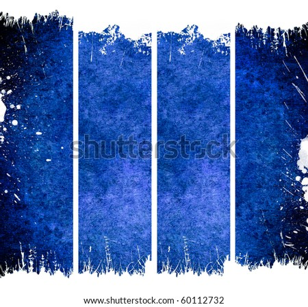Four vertical blue banners with cracks - stock photo