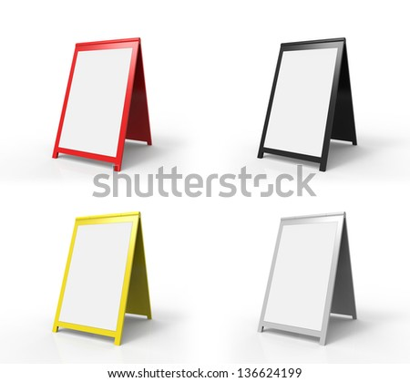 Four very modern looking street advertising signs. You can easily paste your custom text onto the board.