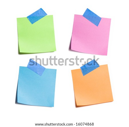 Four vibrant sticky notes on white background - stock photo