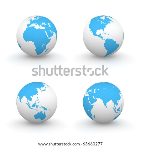 four views of a 3D globe with blue continents and a white ocean - stock photo