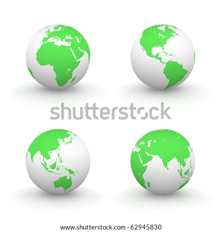 four views of a 3D globe with green continents and a white ocean - stock photo