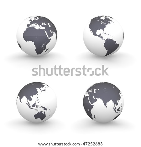 four views of a 3D globe with shiny black continents and a white ocean - stock photo
