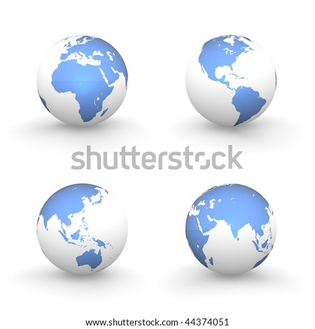 four views of a 3D globe with shiny blue continents and a white ocean