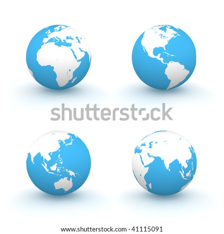 four views of a 3D globe with white continents and a blue ocean
