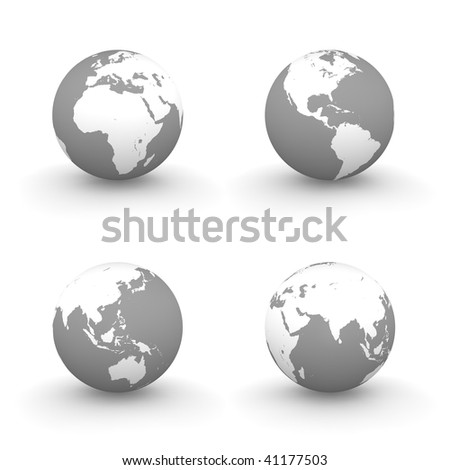 four views of a 3D globe with white continents and a grey ocean - stock photo