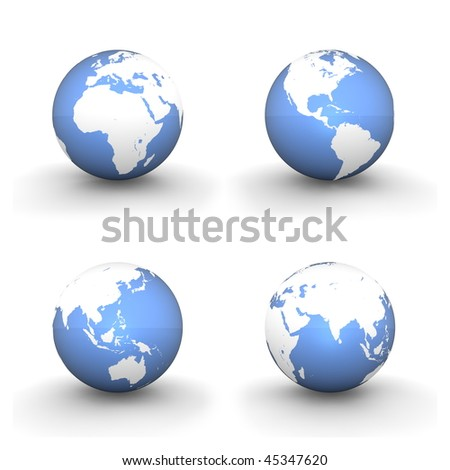 four views of a 3D globe with white continents and a shiny blue ocean
