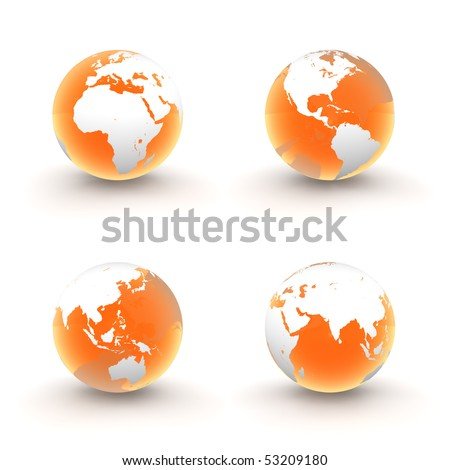 four views of a 3D globe with white continents and a shiny orange transparent ocean - stock photo